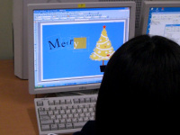 クリスマスカード作成中