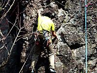 幕岩でのロッククライミング