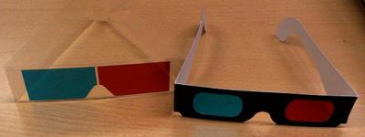 赤とシアンのメガネ